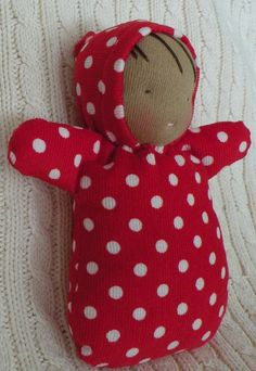 waldorf doll-polka dot baby with cocoon
