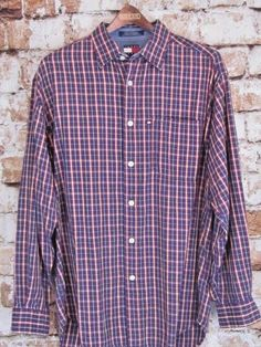 TOMMY HILFIGER Button Front Long Sleeve Striped Men's Medium Shirt Tommy Jeans  #TommyHilfiger #ButtonFront