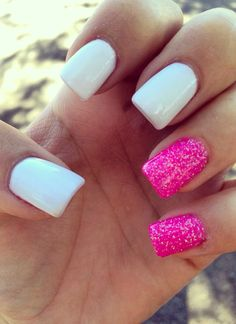 White and pink nails... Perfect for October breast cancer awareness month!
