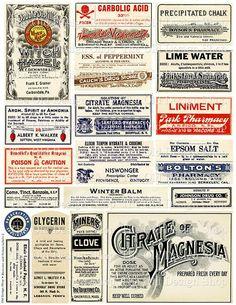 Vintage Medical Pharmacy Poison Labels Set 2 by TheOldDesignShop Éphémères Vintage, Vintage Labels, Vintage Ephemera, Vintage Prints, Vintage Images, Vintage Witch, Printable Labels, Printables, Image Deco