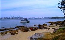 Looking out from Shark Island beach, in Sydney Harbour, Australia
