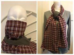 Burgundy Plaid Scarf Mask. Double Layered. Reversible. Hood. Wrap. Shawl. #Handmade
