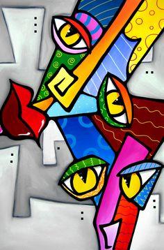 NEON NIGHTS Original matted POP ART City Abstract MODERN print FIDOSTUDIO