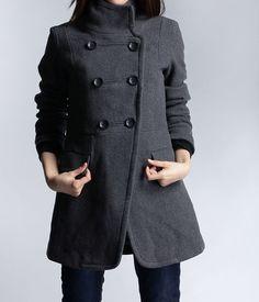 Dark Grey Fitted Coat Military Jacket Winter Wool Coat Women Coat ...