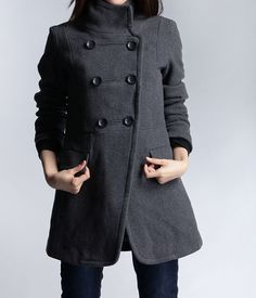 Dark Grey Fitted Cashmere Coat Military Jacket Winter Wool Coat ...
