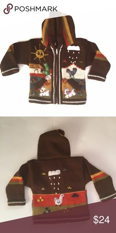 HANDMADE PERUVIAN SWEATER-NWOT HANDMADE PERUVIAN SWEATER, size 18-24 months. All profits from sale of this item donated to feeding hungry Peruvian families. Shirts & Tops Sweaters
