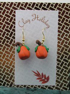Cute Pumpkin Earrings by ClayHoliday on Etsy, $8.00