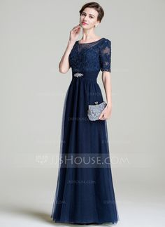 A-Line/Princess Scoop Neck Floor-Length Ruffle Beading Appliques Lace Sequins Zipper Up Sleeves Short Sleeves No 2016 Dark Navy Spring Summer Fall Winter General Plus Tulle Mother of the Bride Dress Mother Of The Bride Dresses Long, Maid Of Honour Dresses, Ruffle Beading, Mom Dress, Flattering Dresses, Formal Evening Dresses, Wedding Party Dresses, Special Occasion Dresses, Dress Patterns