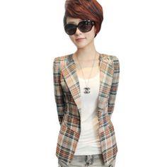 Meilaier Women's Suits Jacket Orange Lattice Causal Coat Top Blazer (XXL)