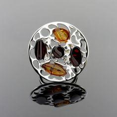 Cognac And Dark Cherry Amber Stones Flower Ring by AmberStoneRing