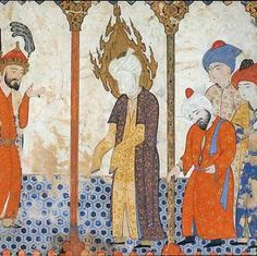 Depictions of Mohammed Throughout History- The Prophet Mohammed in a Mosque. Turkish, 16th Century, painting on paper. Museum of Fine Arts, Boston. The artist depicted Mohammed in very long sleeves so as to avoid showing his hands, though his neck and hints of his features are visible.