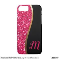 Black and Pink Glitter Curve Modern Monogram iPhone Case - gold gifts golden diy custom Gold Gifts, Glitter Gifts, Gold Style, White Style, Black White Fashion, Monogram Gifts, Pink Glitter, Iphone Case Covers, Unique Gifts