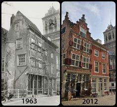Foto van de Kaerskorf voor en na de restauratie door de Hendrick de Keyser…