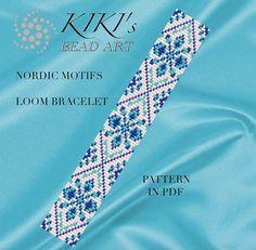 Loom pattern Nordic motifs LOOM bracelet pattern by KikisBeadArts Loom Bracelet Patterns, Bead Loom Bracelets, Bead Loom Patterns, Peyote Patterns, Jewelry Patterns, Loom Bands, Beading Patterns Free, Beading Ideas, Beading Supplies