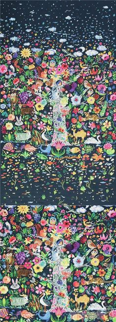 """navy blue cotton fabric with tree of life colourful animals and flowers all around, Material: 100% cotton, Fabric Type: smooth cotton fabric, Fabric Width: 112cm (44"""") #Cotton #Animals #AnimalPrint #Flower #Leaf #Plants #FullPattern #Birds #Owls #USAFabrics"""