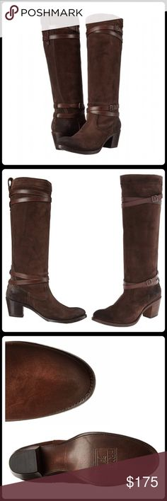 """Frye Jane Strappy tall boots New in box. Authentic Frye. Charcoal oiled suede (dark brown color). Heel approx 2.25"""". Shaft 17"""". Circumference 16"""". Last pic shows it being worn....but note: that boot is a different color. Frye Shoes Heeled Boots"""