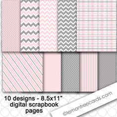 Immediate download / Pink and Gray Printable Paper Pack / 8.5x11 / digital scrapbooking / CU, $4.25