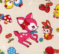 HALF YARD - Cosmo Textiles - Kawaii Animals - Deer Bird Squirrel Duck with Strawberries Cherries Mushrooms - Japanese Import Fabric on Etsy, $9.00