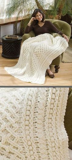 """Lattice Weave Throw, free pattern (LW2914) by Mary Jane Protus for Red Heart. Double diamond lattice, popcorn/bobble, & cable stitches give beautiful texture. 49""""x70"""", 4368 yds, hook size 'J' #crochet #afghan #blanket"""