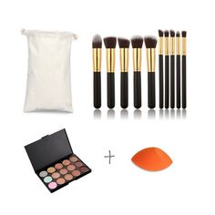Pure Vie Pro 10 Pcs Make Up Brushes   1 Sponge Puff   15 Colors Cream Concealer Camouflage Makeup Palette Contouring Kit for Salon and Daily Use ** To view further for this item, visit the image link.