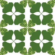 This pattern of hatched green oak leaves forms a 4-leaved clover where the corners meet when embroidered in groups. Design by CrossStitchtheLine, it's perfect for soft furnishings and linen.