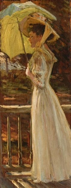 Alonzo M. Kimball (1874-1923) - Woman with a White Dress and Pink Hat - Oil on wood panel