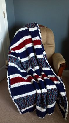 Red White and Blue Crochet Afghan by SnugableTouches on Etsy, $55.00