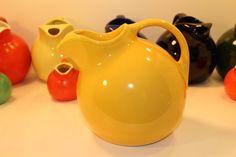 Vintage Harlequin Ice Lip Ball Pitcher Water Jug Fiesta Large Yellow