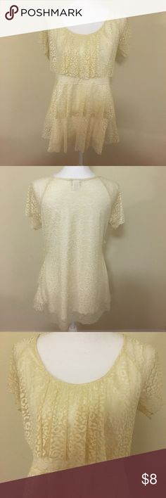 Cheetah lace top Layered with lace overlay Tops Blouses