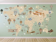Cultural world map decal pattern map wall decal celar vinyl decal avitation world map decal airplane map wall decal clear vinyl decal nursery room decals world map mural hot air balloon world map gumiabroncs Images