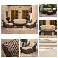 Make your patio perfect with the Toronto 6-pc. Seating Set; includes a woven table, sofa, 2 chairs with ottomans and weather-resistant Sunbrella performance fabric.