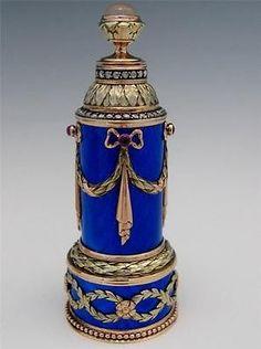Heavy Beautiful Russian 14K Gold Diamond Moonstone Blue Guilloche Enamel Perfume Bottle | eBay
