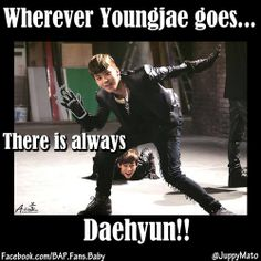 Fact 1 about these dorks: Daehyun is a package deal with Youngjae. So if you take Youngjae expect Daehyun to come with you as well XD.