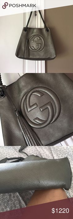 Gucci soho Normal wear clean from inside .. inside pocket have some lipstick mark .. small scratch on bottom barely can see as in picture .bag is great shape comes with dust bag. authentic GUCCI Metallic Pebbled Calf skin Pewter features dark silver chain and a prominent large facing embossed interlocking GG logo with a decorative tassel and a broad open top. The interior is a coarse linen fabric interior with zipper and patch pockets and space for your daytime and evening necessities Gucci…