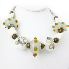 White Necklace Lamp Work Necklace Glass Bead by EarthlieTreasures, $21.95