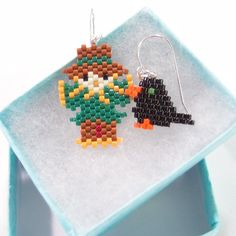 Scarecrow and Crow Mismatched Earrings Seed Bead by BeadCrumbs