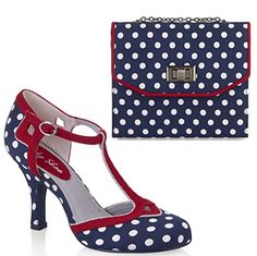 a2ce39ae Ruby Shoo UK 8 EU 41 Navy Hatty Spotty Fabric T-Bar Pumps & Venice Bag:  Amazon.co.uk: Shoes & Bags