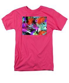 Original Abstract Digital Artwork Intense And Fluide Dramatic Colorful Vibrant Men's T-Shirt (Regular Fit) featuring the digital art Hats N Lampshades by Expressionistartstudio Priscilla-Batzell
