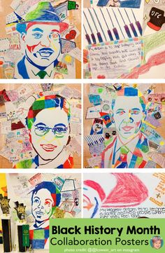 Using collaborative posters with your students during Black History Month is a great way to have your students all work together toward a larger poster where they see how important they all are in creating the artwork. Teachers love how easy these are (and that there are two versions for older and younger student) and students love being part of such meaningful art in their regular classrooms! #blackhistorymonthactivity #blackhistorymonth