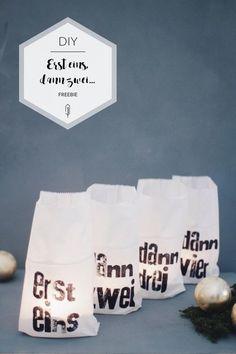 Alternativer Adventskranz mit bedruckten Butterbrottüten mit Letterpress Print   kostenlose Druckvorlage   Freebie   kostenloser Download