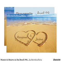 Names in Hearts on the Beach Wedding RSVP Card