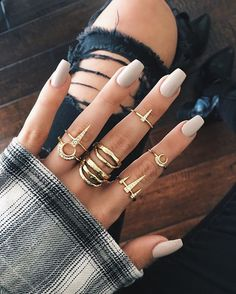 """Set of 5 Dainty Rings with Crescent and Spike Paved Details Sold with 3 Rings """"As Size Requested"""" and 2 Midi Rings Available Plating: 14K Antique Gold Made from Brass Designed by LUV AJ"""