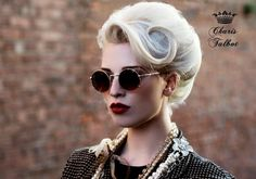 Retro look and updo. Red lips.