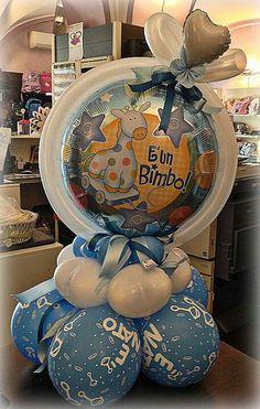 Baby Boy Small Centerpieces, Balloon Centerpieces, Balloon Decorations, Baby Shower Deco, Baby Shower Crafts, Baby Boy Balloons, Baby Shower Balloons, Balloon Shop, Balloon Gift