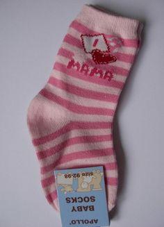 """Wunderschöne Baby-Söckchen rosa-pink gestreift  Gr 92-98 """" I love Mama"""" Apollo"""