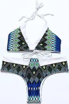 #tribal Snake Pattern Reversible V Neck Bralette #Bikini Set