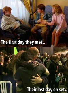 Harry Potter the first day of casting, and the last day of filming -- from History in Pictures twitter feed