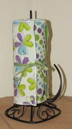 Snapping Unpaper Towels Green Purple Blue Dots by WhileEllieDreams