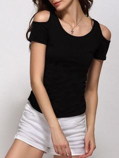 Shoulder Hollow Out Round Neck Short Sleeve T-shirt