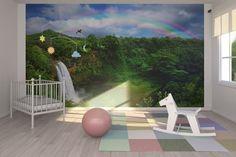 Waterfall in Kauai with Rainbow - Wall Mural & Photo Wallpaper - Photowall